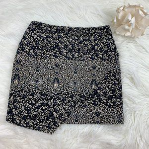 H&M Asymmetrical Brocade Embroidered Skirt Size 8